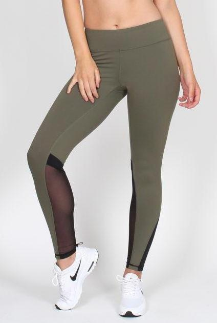 BELLE BODY CO MESH PANELLED LEGGING - Khaki