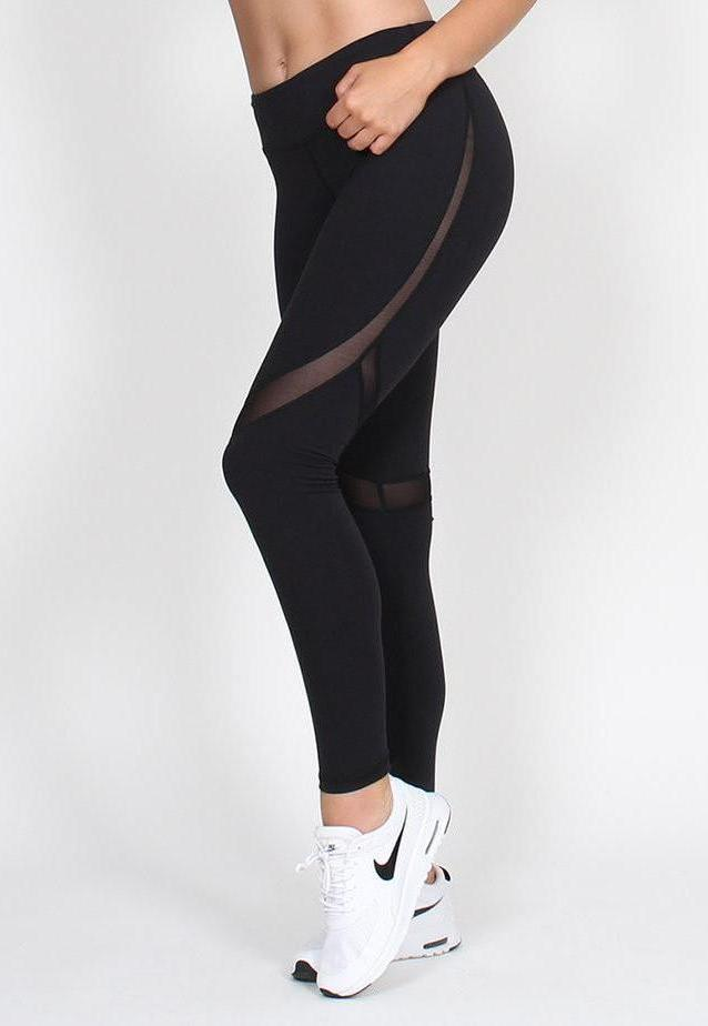 BELLE BODY CO MESH PANELLED LEGGINGS - Black