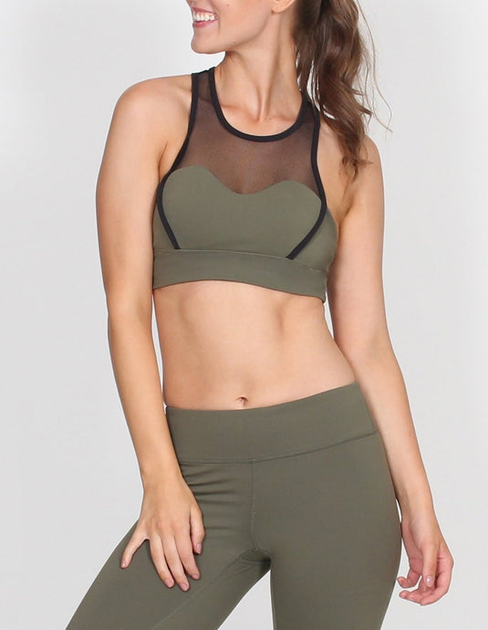 BELLE BODY MESH PANELLED RACER SPORTS BRA - Khaki