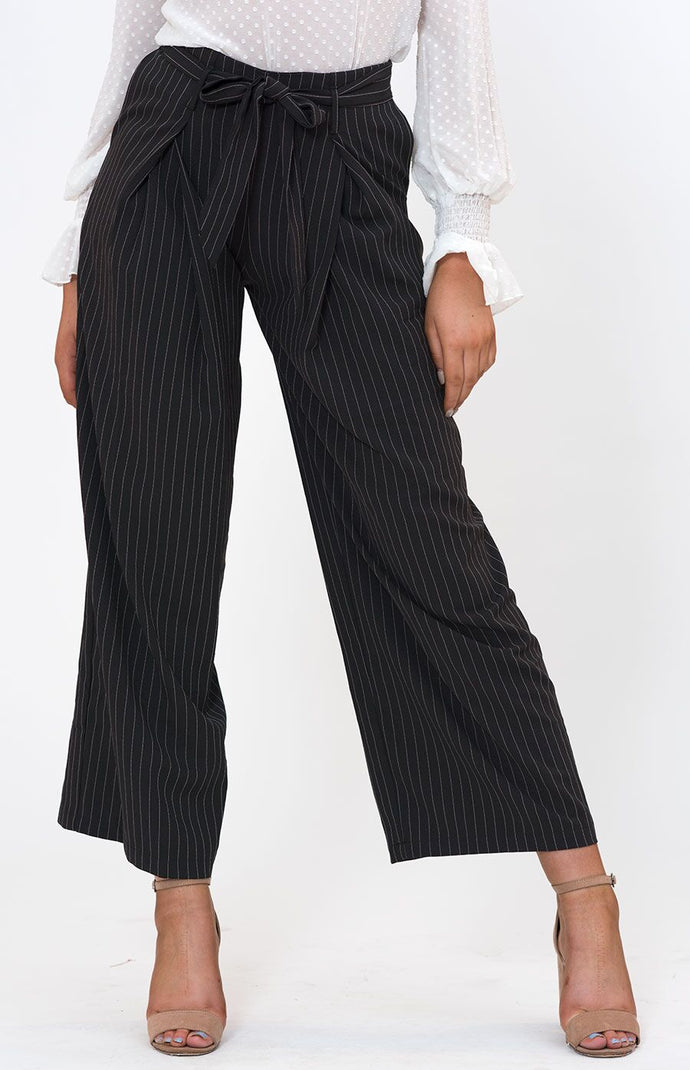 PRIA HIGHWAIST WIDE LEG PINSTRIPE PANTS - Black Pinstripe