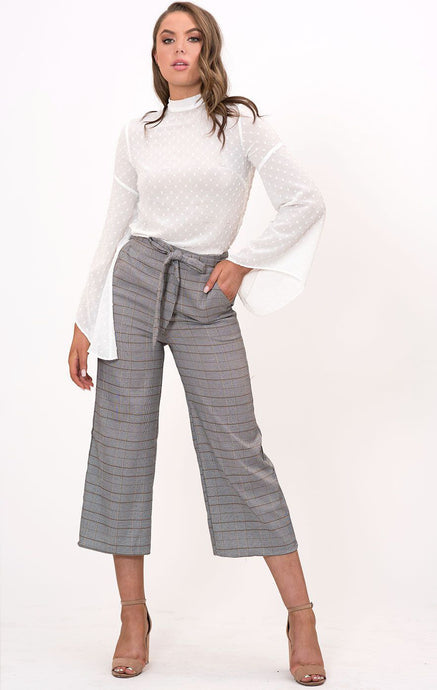 ALANA CROPPED WIDE LEG PLAID PANTS - Grey