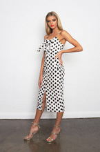 KENDAL TIE BUST BUTTON FRONT MIDI DRESS - White Polkadot