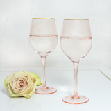 Wine Glass Rose Crystal Set of 2