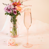 Champagne Flute Rose Crystal Set of 2
