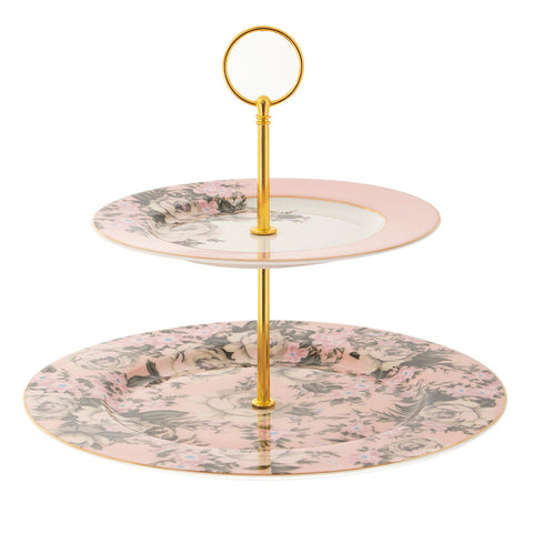 Belle De Fleur 2 Tier Cake Stand.  Floral design with gold detailing.