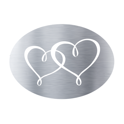 Metallic Twin Hearts Silver (50 Qty) - Cristina Re Designs