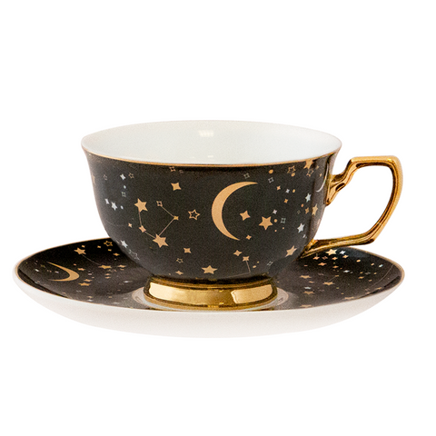 It's Written in the Stars Teacup & Saucer - Ebony & Gold