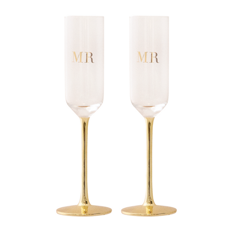 Champagne Flutes Crystal MR & MR Set of 2