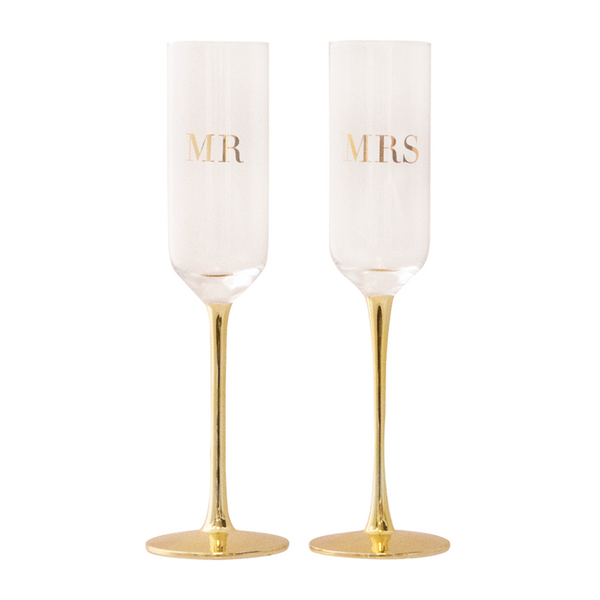 Champagne Flutes Crystal MR & MRS Set of 2 - Cristina Re Designs