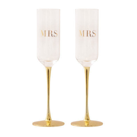 Champagne Flutes Crystal MRS & MRS Set of 2