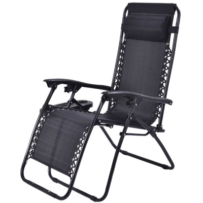 Costway 2PC Zero Gravity Chairs Lounge Patio Folding Recliner Outdoor Black  W/Cup Holder