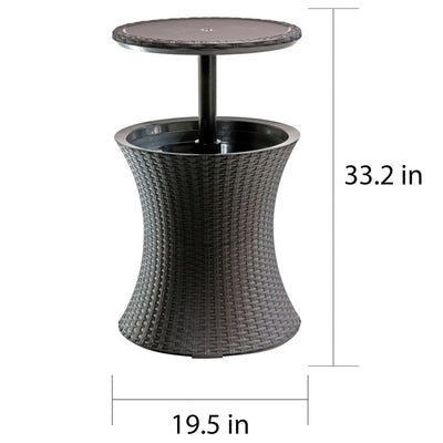 Top Keter Pacific Cool Bar Brown Wicker Outdoor Ice Cooler Table  AW62