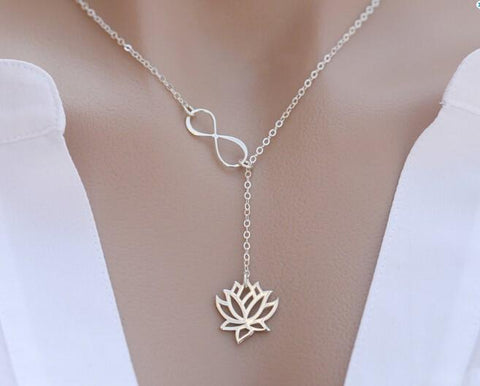 Gold and Silver Lotus Necklace