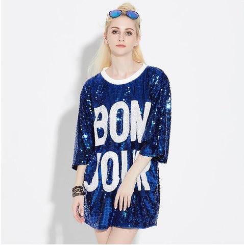 Loose Long 3 Quarter Sleeve Letters Print Glitter Top