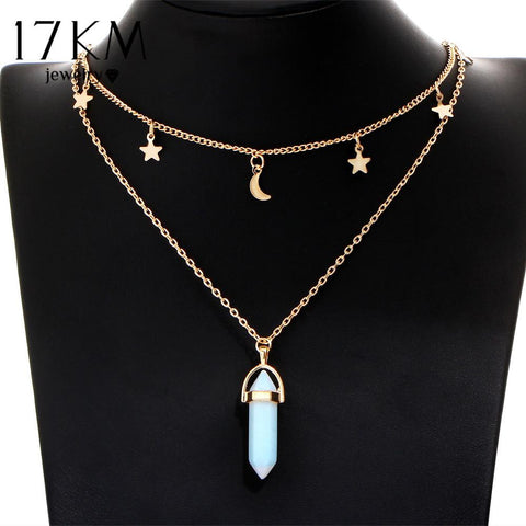 6 Colors Big Stone Beads Moon & Star Pendant