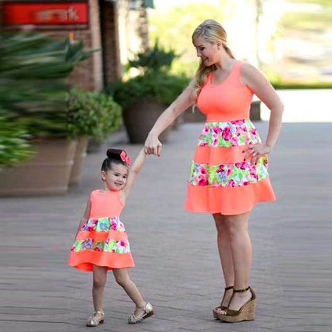 Above Knee Mother& Daughter Dress