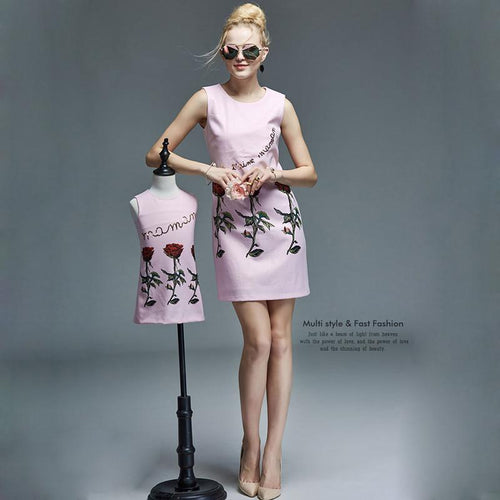 Stylish Sleeveless Rose Princess Cotton Dress