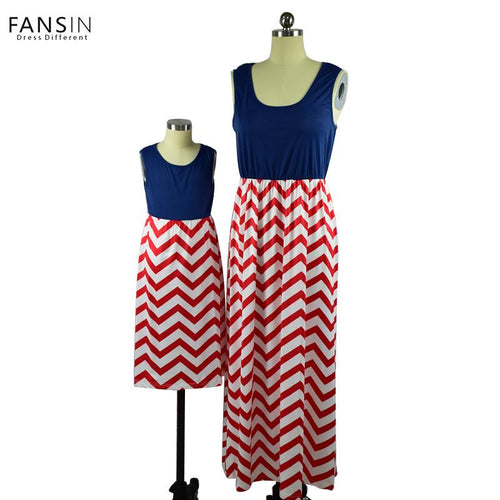 Sleeveless Striped Mother & Daughter Dress