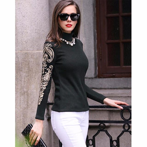 Turtleneck Lace Embroidery Pullover
