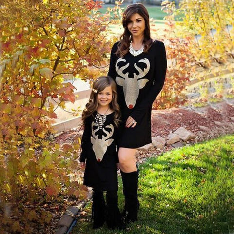 Cartoon Deer Long Sleeve Mom & Daughter Dress