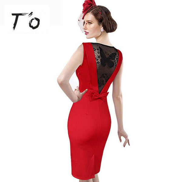 Sexy Lady See Through Lace V Back Bow Butterfly Dress