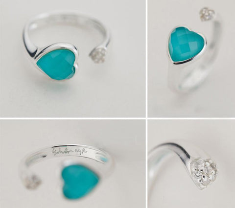 Resizable Silver Heart Rings