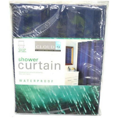 2m Drop x 1.8m Wide Extra Long Waterproof Bath Curtain Marine Navy