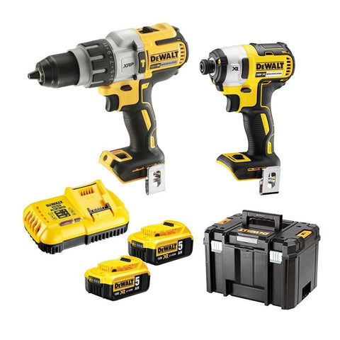 DEWALT|2 Piece Cordless Brushless Hammer Drill Driver Kit * Oktoolber Fest bonus - 3 for the price of 2.  Choose 1 of 3 18V DEWALT Skins free with purchase *|18V|DCK296P2T-XE