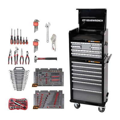 207 Piece Combination Tool Kit & 26in 14 Drawers Tool Chest & Trolley