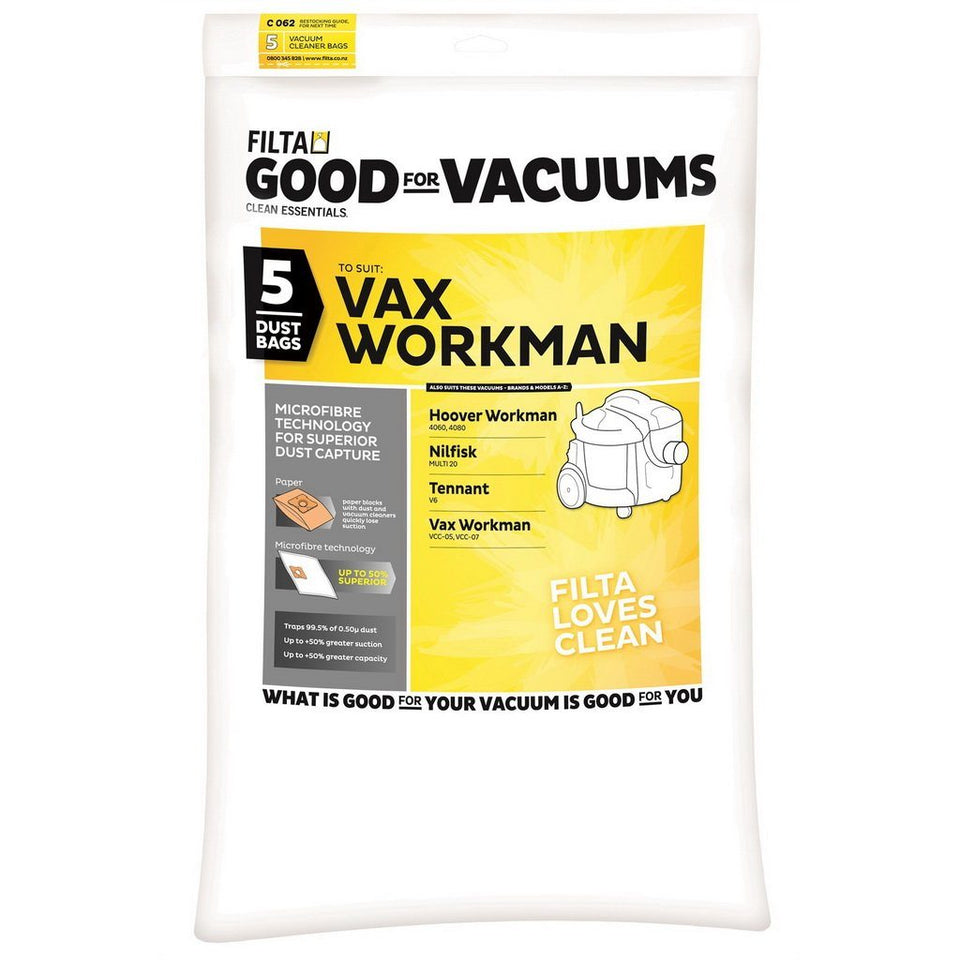 Microfiber Vaccum Cleaner Bag For Vax Workman VCC-05, VCC-07 & PAC VAC Glide 300