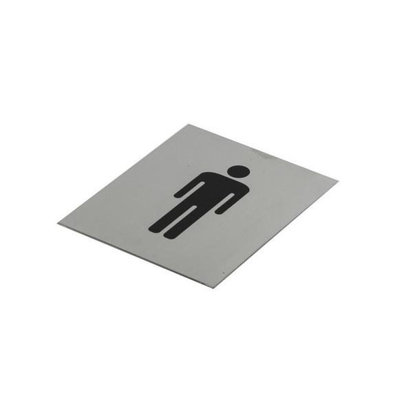 100 x 120mm 'Male' Toilet Door Sign Black On Stainless Steel