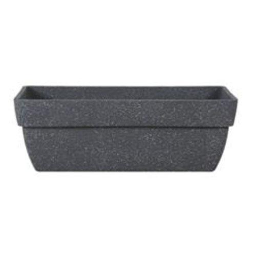 Full Plain Rectangle Polysand Pot with Art Stone Sand Grey