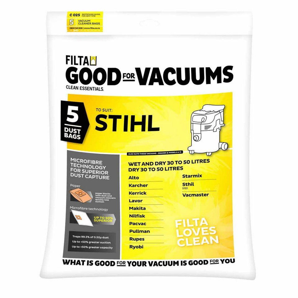 C025 Microfiber Vaccum Cleaner Bag For Stihl/Nilfisk/Karcher 20-50L(Wet & Dry) Vaccum Cleaner 5 pack