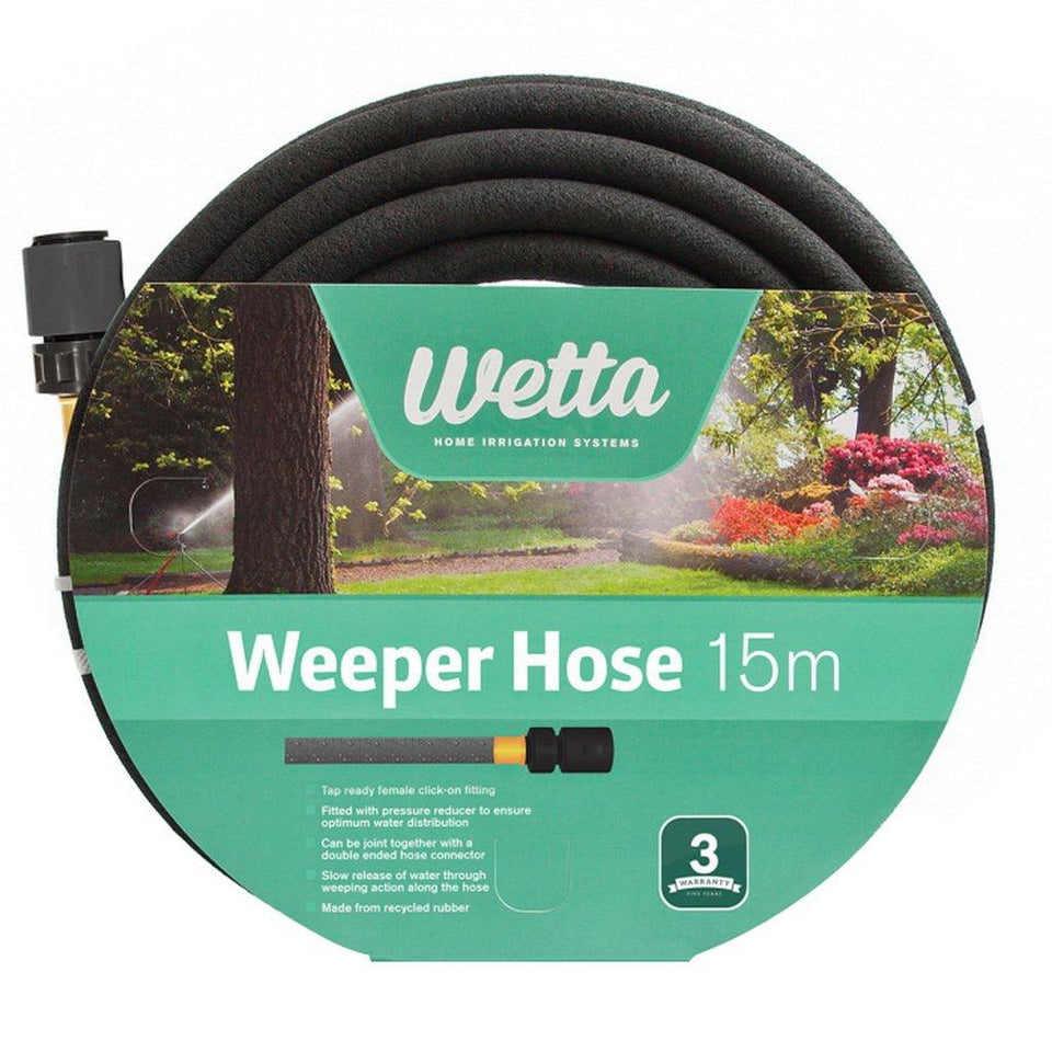 12mm x 15m Recycled Rubber Black Weeper Hose