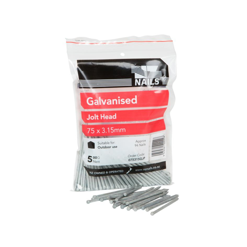 75 x 3.15mm Galvanised Jolt Head Nail 500g