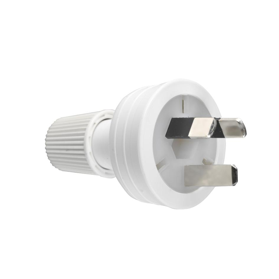240VAC 10A White 3-Pin Male Electrical Plug Top with Cord Locking Nut