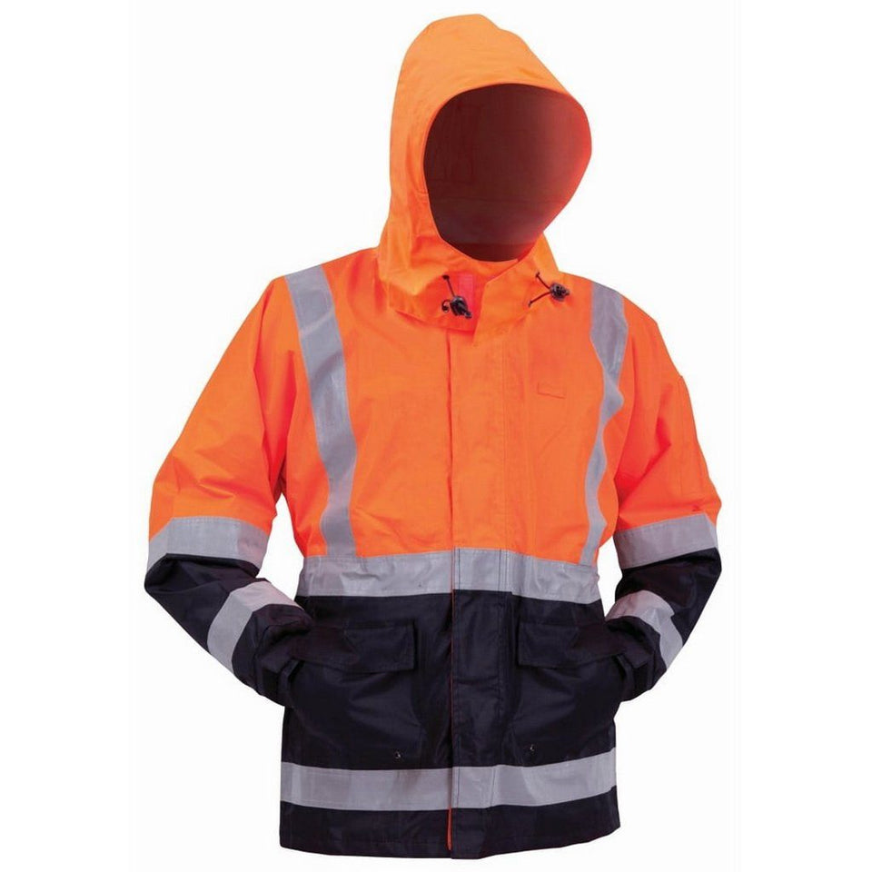 Fluro Orange/Navy Stamina Day/Night Premium Weight Contrast Rain Jacket