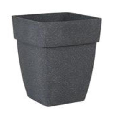 Full Plain Square Polysand Pot with Art Stone Sand Black