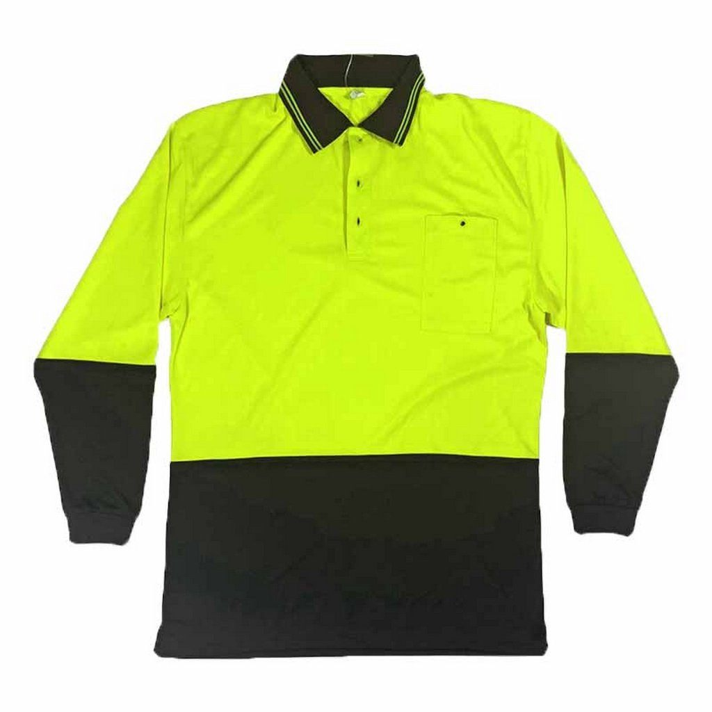 Wise Day Only High Visibility Long Sleeve Polo Shirt Yellow/Navy