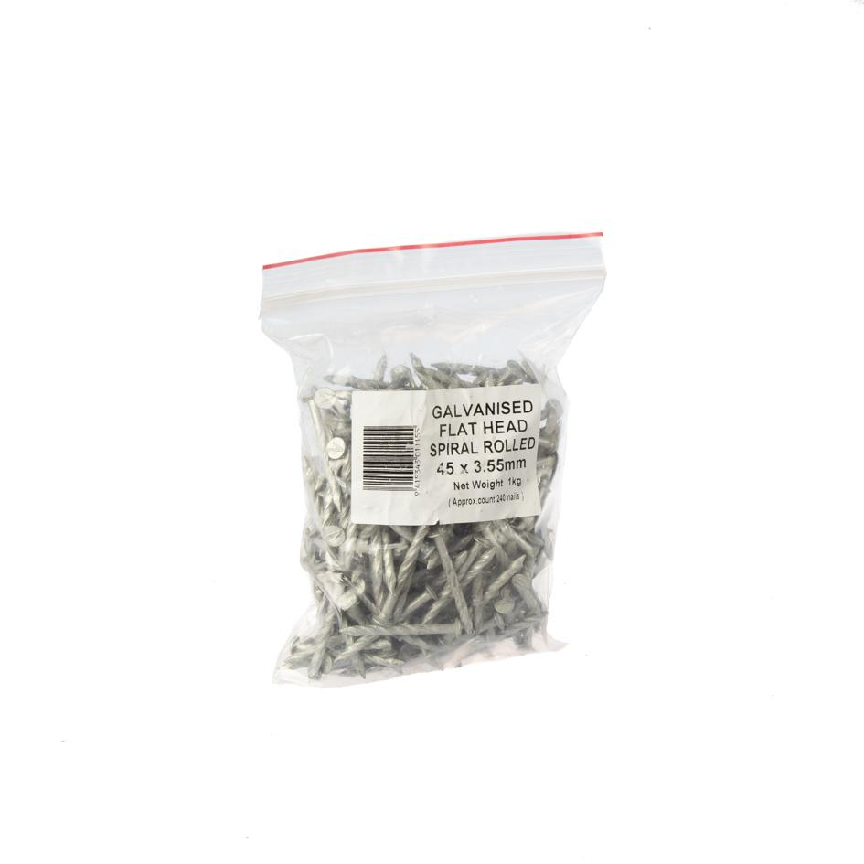 3.55 x 45mm Galvanised Flat Head Product Nail 1kg