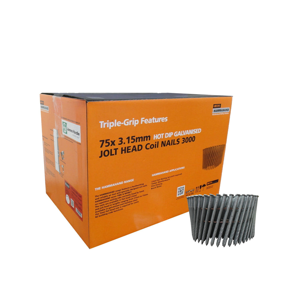 HammaHand 2.8 x 50mm Galvanised Jolt Head Coil Nail 3000 pack