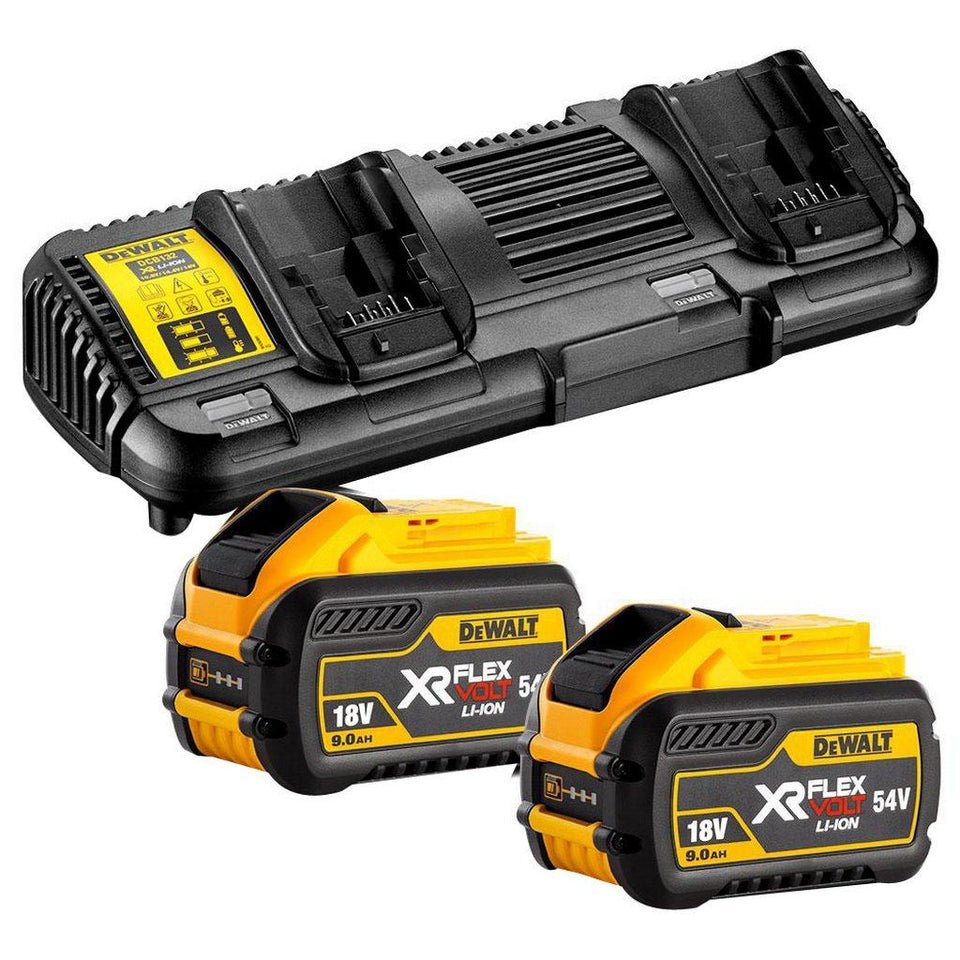 FlexVolt 18V-54V 9Ah XR Battery & Charger Starter Pack (2 x DCB547-XE, 1 x DCB132-XE Kit)