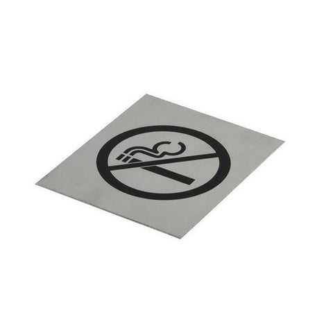 Jaeco|Medium Door sign|No Smoking 100 x 120mm Black On Stainless Steel|DSSMOKE