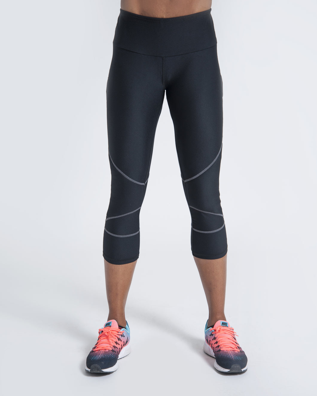 Active Leisure Legging - Black w/ gray stitching and textured knit accents