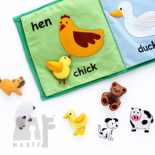 Baby Animal Fabric Book, Quiet Book, Sensory Learning