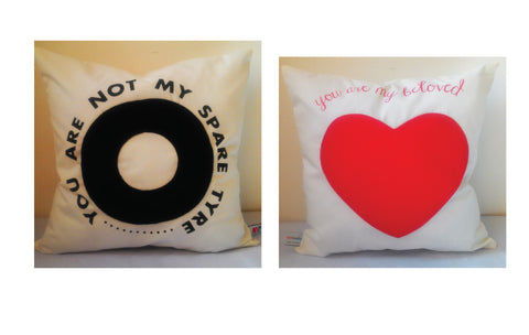 Valentine Cushion,Both side with Message -You are not my Spare Tyre, You are my Beloved
