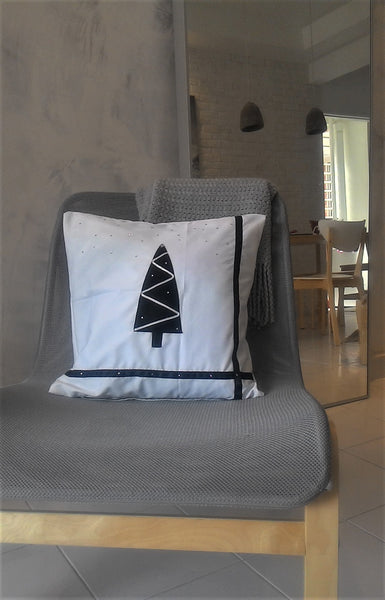 Modern Christmas Tree Pillow, Black Christmas Tree Decorative pillow, Gift for Him