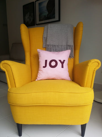 Joy Pillow, Decorative Christmas Pillow cover, Handmade Pillow with insert by MasfeMY