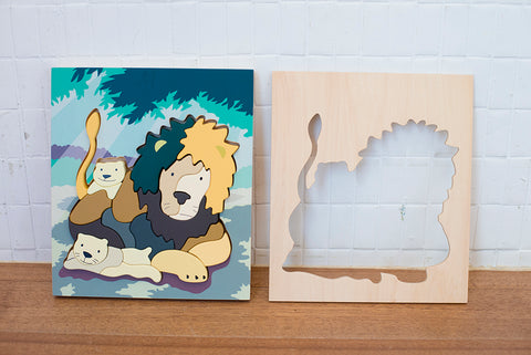 Lion Wooden Blocks with cover, Handmade Wooden Lion Blocks