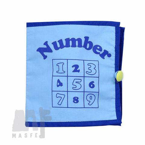 Counting Fabric Book (Blue Cover), Counting 1-10, Montessori Material by MasfeMy